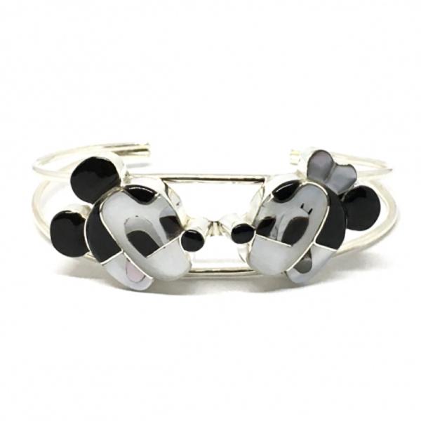 Paula Leekity Bangle Mickey Mouse and Minnie Mouse(ポーラ リーキティ バングル ミッキーマウス&ミニーマウス)腕輪ズニ族zuniインディアンジュエリーネイティブアメリカンインレイ技法シルバー貝シェルヴィンテージジュエリー