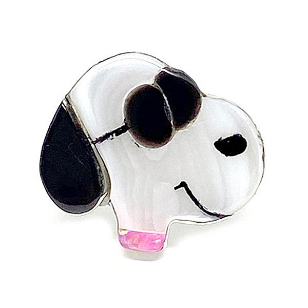 Paula Leekity Ring Joe Cool(ポーラ リーキティ リング 8号 ジョー・クール) indian jewelry指輪フェイス顔snoopyスヌーピーpeanutsピーナッツサングラスネイティブアメリカンズニ族インレイデザイン技法シルバー銀シェル貝オニキス