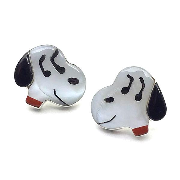 Paula Leekity Earrings Snoopy(ポーラ リーキティ スヌーピー 顔 ピアス) ズニ族zuniインディアンジュエリーネイティブアメリカンインレイ技法シルバー貝シェルオニキスサンゴヴィンテージジュエリービンテージアンティークindianjewelry