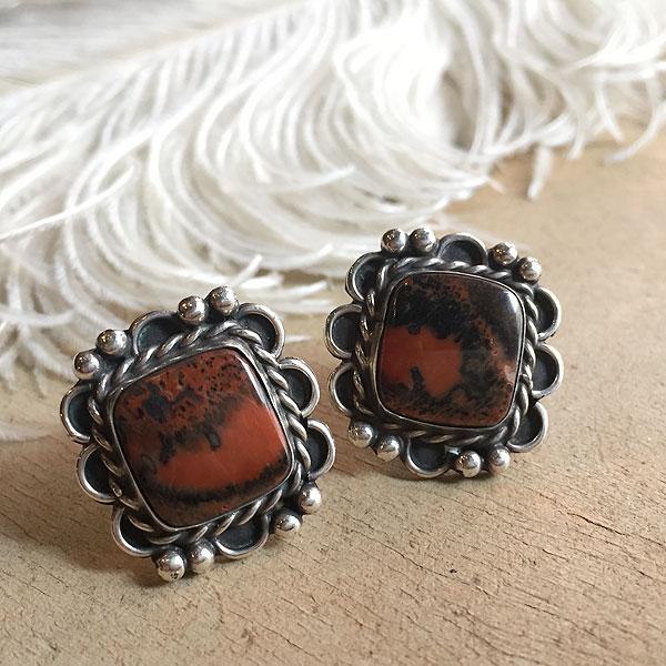 Vintage Silver×PetrifiedWood Screw-back Earrings (シルバー×ペトリファイドウッド スクリューバック イヤリング) ナバホ族インディアンジュエリーネイティブアメリカンアンティークアクセサリーメンズindian jewelryシルバーアクセ