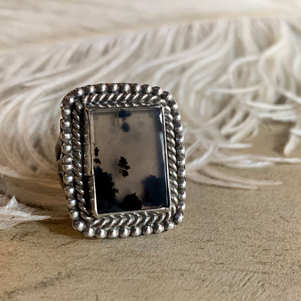 Picture Agete Silver Ring(ピクチャーアゲート シルバーリング) ナバホ族navajoインディアンジュエリーアンティークシルバーアクセサリーネ イティブアメリカンメンズレディースindian jewelry指輪石英水晶めのう瑪瑙パワーストーン