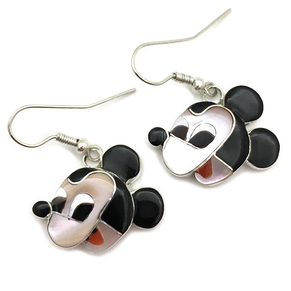 Paula Leekity Earrings Mickey Mouse(ポーラ リーキティ ピアス ミッキーマウス)ズニ族zuniインディアンジュエリーネイティブアメリカンインレイ技法シルバー貝シェルジェットオニキスジュエリーアンティーク