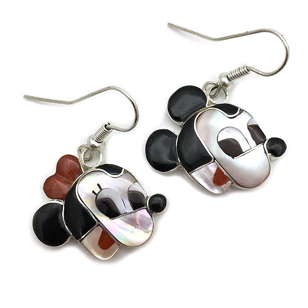 Paula Leekity Earrings Mickey Mouse and Minnie Mouse(ポーラ リーキティ ピアス ミッキーマウス&ミニーマウス)ズニ族zuniインディアンジュエリーネイティブアメリカンインレイ技法シルバー貝シェルジェットオニキスジュエリー