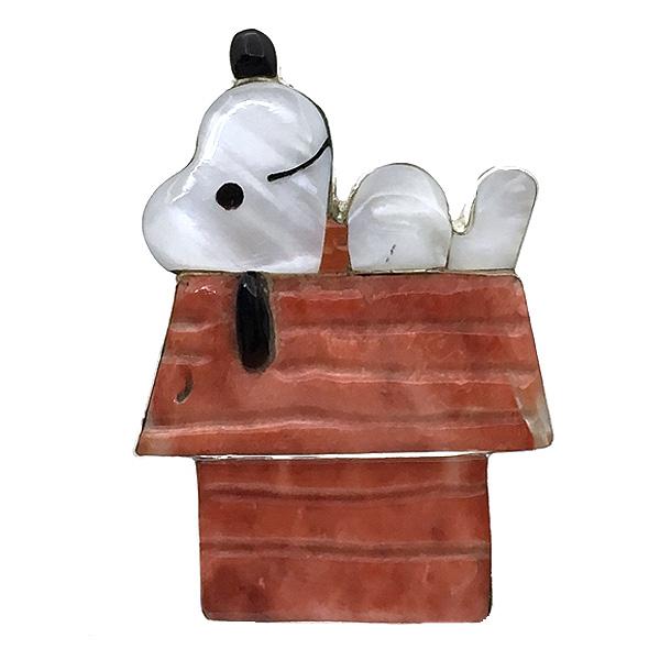 Paula Leekity Snoopy on Rooftop Ring (ポーラ リーキティ 屋根の上のスヌーピー全身 赤い首輪 リング15号) ズニ族zuniインディアンジュエリーネイティブアメリカンインレイ技法シルバー貝シェルジェットサンゴヴィンテージ ジュエリービンテージアンティークpeanuts