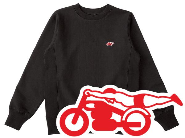 Champion Reverse Weave TYPE スピードアディクト SWEAT(チャンピオンリバースウィーブタイプSPEED ADDICTスウェット)BLACK × RED 黒ブラックトレーナー裏起毛クルーネックワンポイントロゴ刺繍世界最速のインディアンバートマンロー