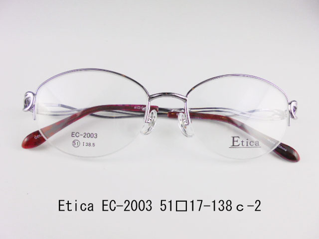 Etica EC-2003 c-2 眼鏡 メガネ レンズ フレーム 枠 近視 遠視 乱視 老眼 遠近両用 度入り 金属 セル