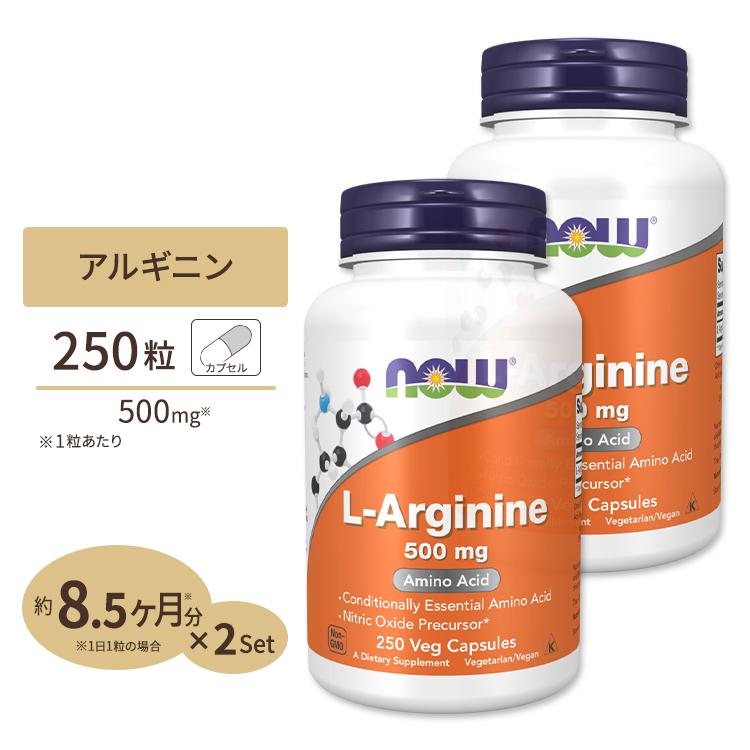 L-アルギニン サプリ サプリメント ダイエット 健康サプリ 動物性エキス アルギニン含有食品 250粒 即納 格安 価格でご提供いたします 500mg ナウフーズ Foods NOW 2個セット