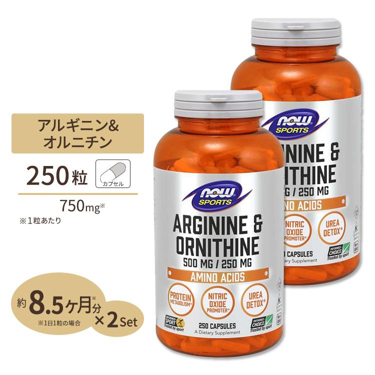 2個セット L-アルギニン & L-オルニチン 500mg / 250mg 250粒 NOW Foods(ナウフーズ)