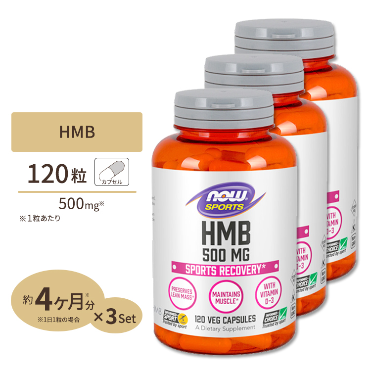 3個セット HMB 500mg 120粒 NOW Foods(ナウフーズ)