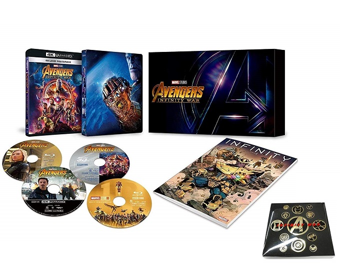 【新品】【即納】【限定】アベンジャーズ/インフィニティ・ウォー 4K UHD MovieNEXプレミアムBOX(数量限定) オリジナルピンバッヂセット付 [4K ULTRA HD + 3D + Blu-ray + デジタルコピー+MovieNEXワールド]