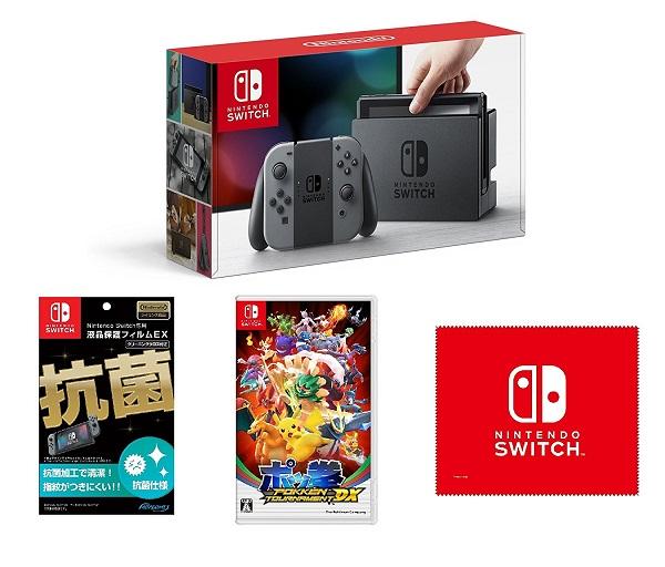 【新品】【即納】【液晶保護フィルムEX付き (任天堂ライセンス商品) 】Nintendo Switch Joy-Con (L) / (R) グレー+ポッ拳 POKKÉN TOURNAMENT DX+マイクロファイバークロス