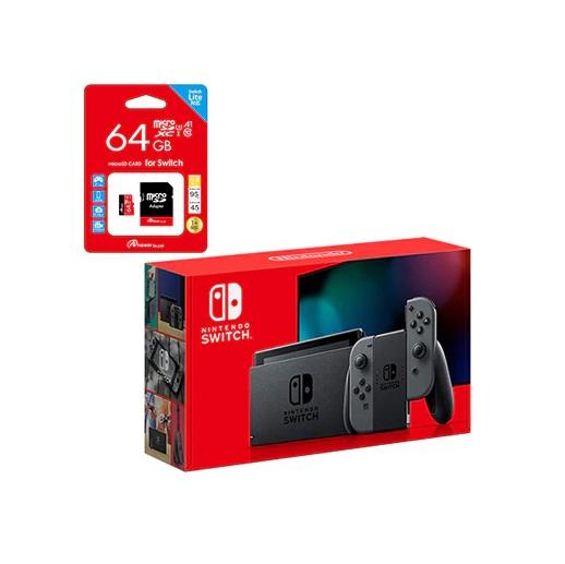 【新品】【即納】ニンテンドースイッチ(グレー) + 対応マイクロSDカード(64GB)セット Nintendo Switch ゲーム 本体