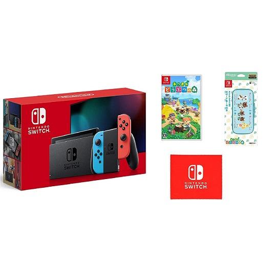 【新品】入荷次第発送 Nintendo Switch 本体 Joy-Con(L) ネオンブルー/(R) ネオンレッド+あつまれ どうぶつの森 Switch+保護フィルム+ポーチEVA (マイクロファイバークロス 同梱)
