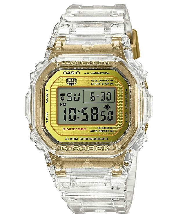 【新品】【即納】 カシオ Gショック CASIO G-SHOCK 35周年記念モデル グレイシアゴールド デジタル 腕時計 メンズ クリアスケルトン DW-5035E-7JR