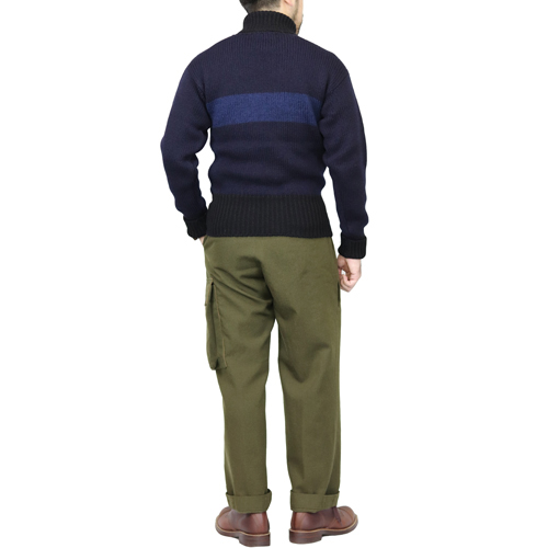 NIGEL CABOURN STRIPED ROLL NECK DARK NAVY × BLUE AUTHENTIC LINE