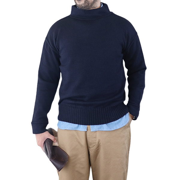 EASTMAN LEATHER CLOTHING イーストマン・レザー・クロージング U.S. NAVY SEAMANS SWEATER NAVY MADE IN U.K.