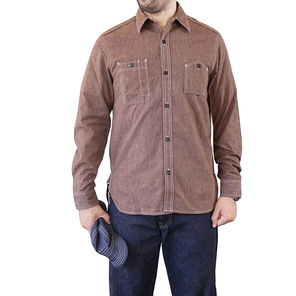 ELMC イーストマン・レザー ELMC・モーターサイクル BROWN・クラブ CHAMBRAY CHAMBRAY WORK SHIRT 1940s STYLE WORK SHIRT SELVEDGE CHAMBRAY BROWN, ヒキガワチョウ:bd13b39f --- economiadigital.org.br