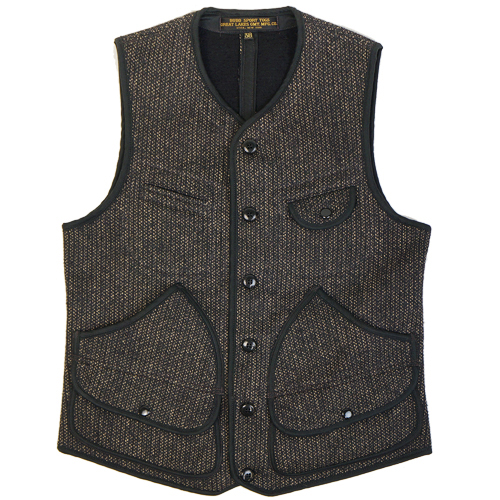 FREEWHEELERS BRIDGEPORT OUTDOOR STYLE HUNTING VEST GREAT LAKES GMT. MFG.CO. GRAINED BLACK STRIPE × BLACK