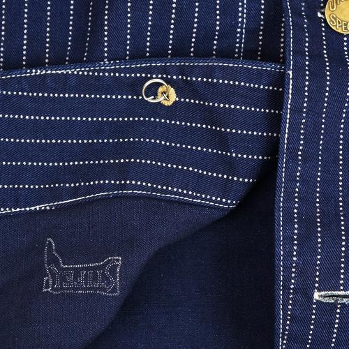 FREEWHEELERS CONDUCTOR JACKET LATE 1800s STYLE WORK CLOTHING UNION SPECIAL OVERALLS INDIGO WABASH STRIPE