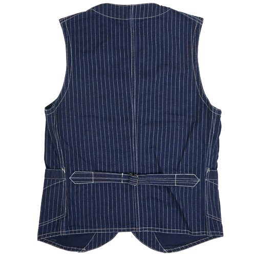 FREEWHEELERS CONDUCTOR VEST LATE 1800s STYLE WORK CLOTHING UNION SPECIAL OVERALLS INDIGO WABASH STRIPE