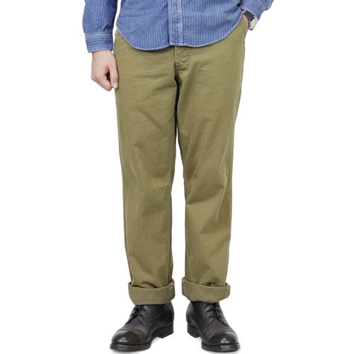 FREEWHEELERS フリーホイーラーズ M-1942 TROUSERS HBT 1940s CIVILIAN MILITARY STYLE CLOTHING HEAVY WEIGHT YARN-DYED HERRINGBONE TWILL KHAKI