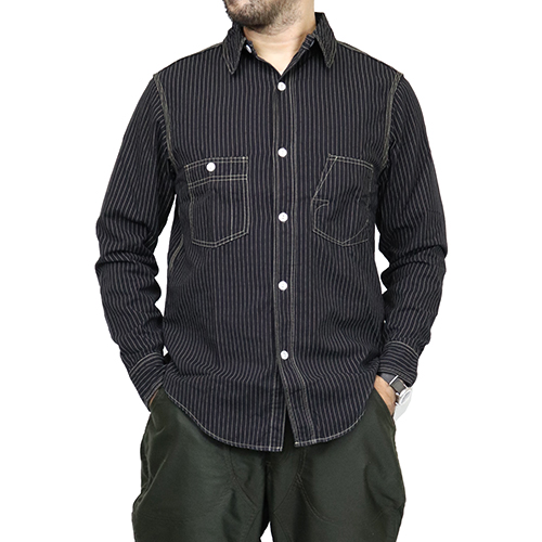 FREEWHEELERS フリーホイーラーズ IRONALLS SHIRT 1920 - 1930s STYLE WORK SHIRT BLACK WABASH CHAMBRAY