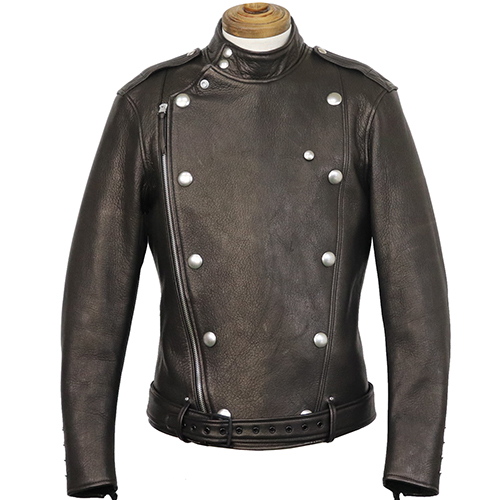 FREEWHEELERS CENTINELA LEATHER TOGS LATE 1930-1940s MOTORCYCLE JACKET DOUBLE BREASTED TYPE DEER SKIN JET BLACK
