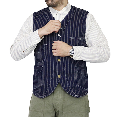 FREEWHEELERS フリーホイーラーズ CONDUCTOR VEST LATE 1800s STYLE WORK CLOTHING UNION SPECIAL OVERALLS INDIGO WABASH STRIPE