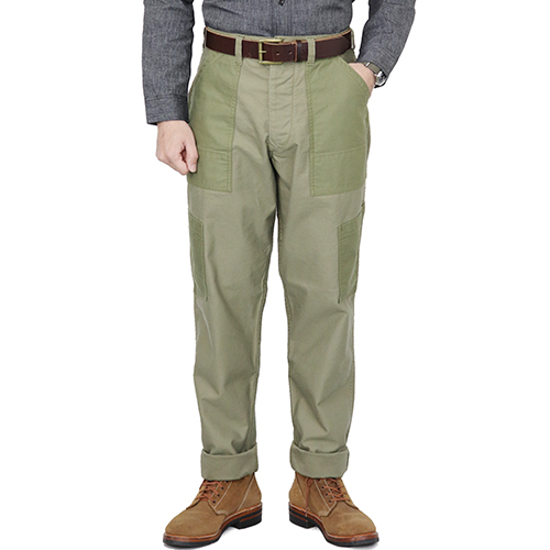FREEWHEELERS フリーホイーラーズ DECK TROUSERS 1940s CIVILIAN MILITARY STYLE CLOTHING MILITARY BACK SATIN GRAY KHAKI × OLIVE