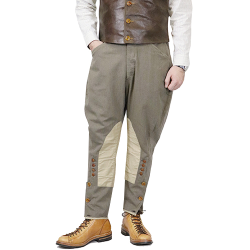 FREEWHEELERS フリーホイーラーズ CAVALRYMAN BREECHES 1910s OUTDOOR SPORTS BREECHES GREAT LAKES GMT.MFG.CO. YARN-DYED TWILL GRAY BEIGE