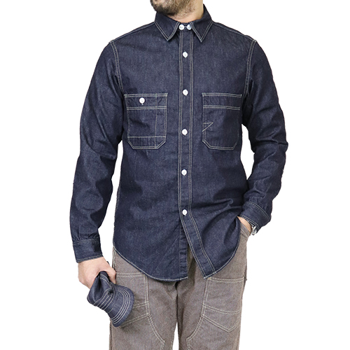 FREEWHEELERS フリーホイーラーズ BRAKEMAN WORK SHIRT 1920 - 1930s STYLE WORK SHIRT 8oz INDIGO DENIM