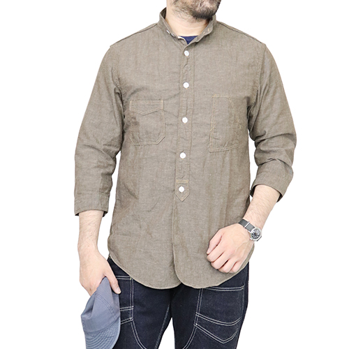 FREEWHEELERS フリーホイーラーズ THE SKIPPER THREE-QUATER SLEEVE 1920 STYLE WORK SHIRT COTTON LINEN CHAMBRAY BROWN GRAY
