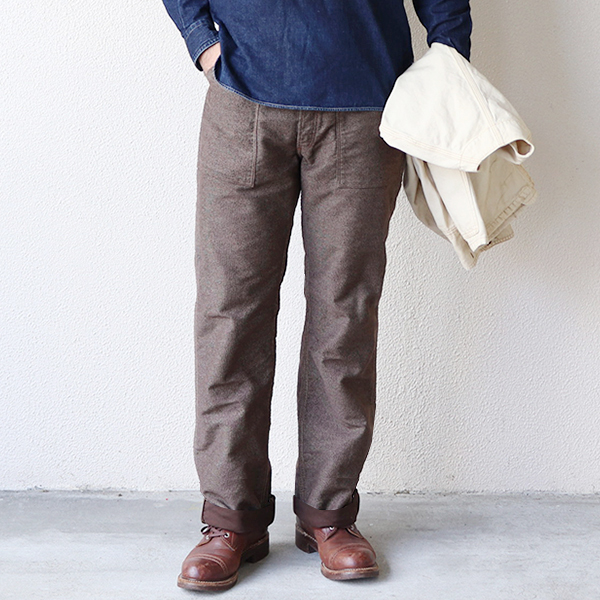 FREEWHEELERS フリーホイーラーズ LONGSHOREMAN OVERALLS EARLY 1900s - 1920s STYLE WORK CLOTHING DISCHARGE PRINTING MOLESKIN BROWN IRONCLAD STRIPE