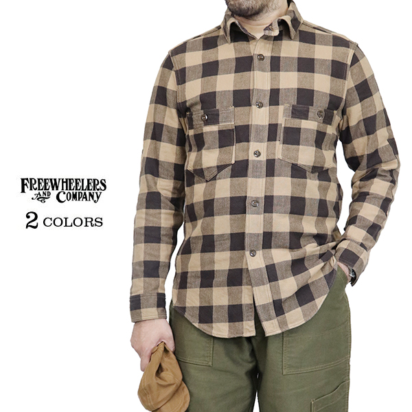 FREEWHEELERS フリーホイーラーズ SPEED TUNER 1920 - 1930s STYLE 1930s COLORS WORK SHIRT SHIRT COTTON FLANNEL CHECK 2 COLORS, 超大特価:6911238b --- economiadigital.org.br