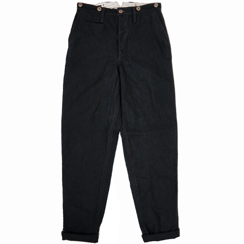 FREEWHEELERS furihoirazu JACKSON TROUSERS LATE 1800s TAILORED TROUSERS GREAT LAKES GMT.MFG.CO. YARN-DYED DEEP BLACK