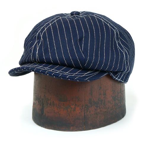 FREEWHEELERS フリーホイーラーズ CASSADY 4 PANELS CAP 1910 - 1920s STYLE CASQUETTE INDIGO WABASH STRIPE