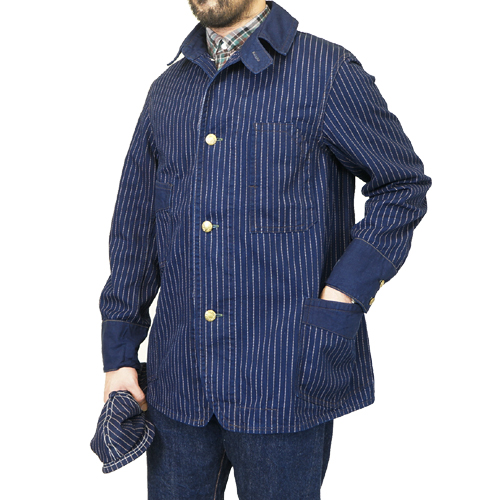 FREEWHEELERS フリーホイーラーズ GOLDEN SPIKE WORK COAT LATE 1890s ~ STYLE WORK CLOTHING UNION SPECIAL OVERALLS INDIGO WABASH STRIPE