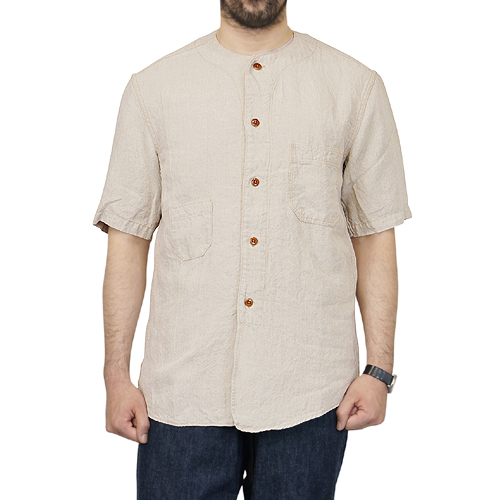 FREEWHEELERS JEROME 1910-1920s OUTDOOR STYLE SHORT SLEEVE SHIRT LINEN CANVAS CLOTH NATURAL