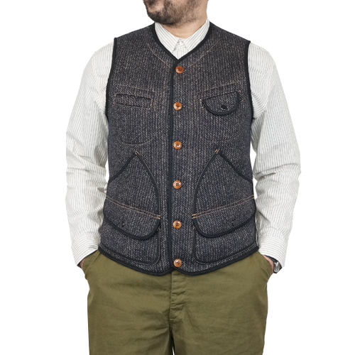 FREEWHEELERS フリーホイーラーズ BRIDGEPORT OUTDOOR STYLE HUNTING VEST GREAT LAKES GMT. MFG.CO. GRAINED CHARCOAL STRIPE × NAVY