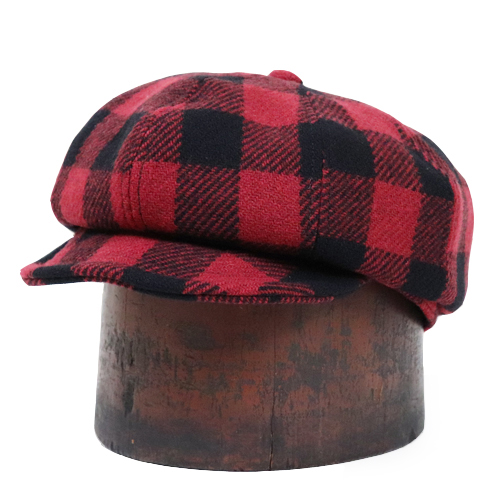 FREEWHEELERS フリーホイーラーズ LOGGER 1910 - 1920s STYLE CASQUETTE GREAT LAKES GMT. MFG.Co. WOOL BUFFALO CHECK RED × BLACK