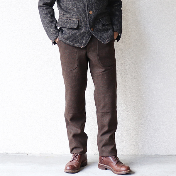 FREEWHEELERS フリーホイーラーズ ORSON LATE 1800s MADE TO ORDER TROUSERS HEAVY WEIGHT SATIN CHECK × TWEED DOUBLE FACE GRAINED OLIVE