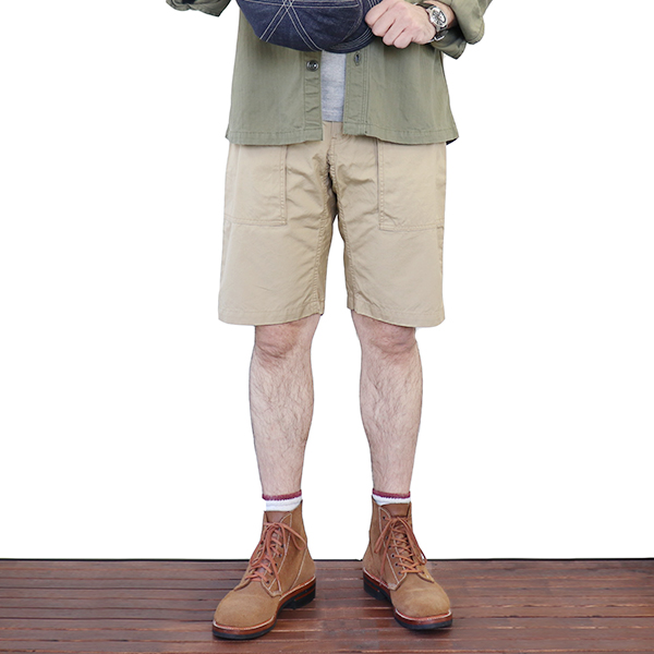 FREEWHEELERS フリーホイーラーズ BUSHMASTER SHORTS 1960 - 1970s STYLE UTILITY GARMENT GREAT LAKES GMT.MFG.CO. VENTILE WEATHER COTTON BEIGE