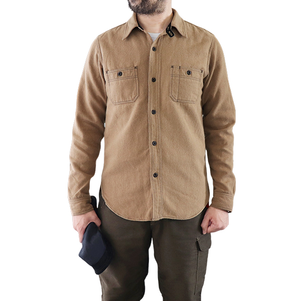 FREEWHEELERS フリーホイーラーズ NEAL SHIRT 1920 - 1930s STYLE WORK SHIRT COTTON WOOL MILITARY HERRINGBONE SAND BEIGE