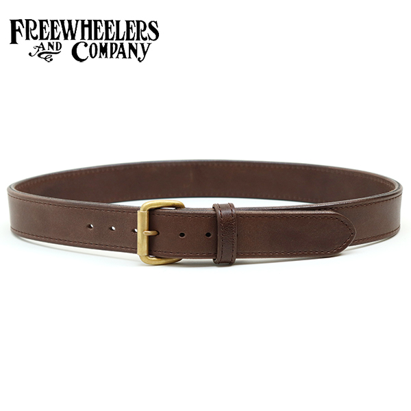 FREEWHEELERS フリーホイーラーズ WOODSMAN BELT GREAT LAKES GMT. MFG.CO. TWO-PLY LAMINATION THICK LEATHER COW HIDE DARK BROWN