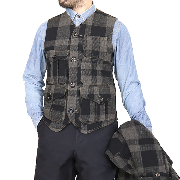 FREEWHEELERS フリーホイーラーズ BAKER VEST 1920 - 1930s WOODSMAN VEST BUFFALO CHECK MELTON CHARCOAL GRAY × JET BLACK