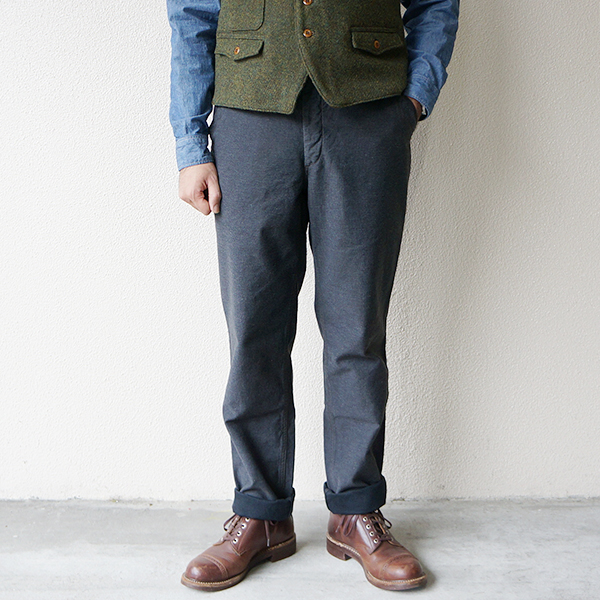 FREEWHEELERS フリーホイーラーズ GARRISON TROUSERS 1920s U.S.NAVY STYLE UTILITY CLOTHING GRAINED BACK SATIN CHARCOAL