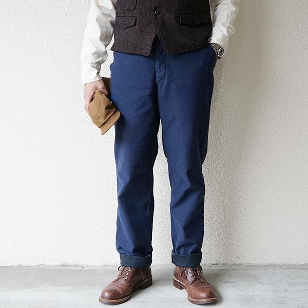FREEWHEELERS フリーホイーラーズ GARRISON TROUSERS 1920s U.S.NAVY STYLE UTILITY CLOTHING GRAINED BACK SATIN NAVY