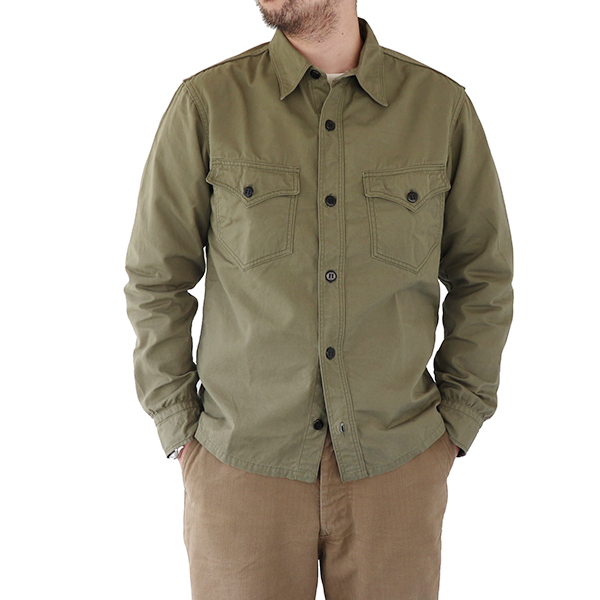 FREEWHEELERS フリーホイーラーズ U.S.NAVY C.P.O. SHIRT 1920s U.S.NAVY UTILITY CLOTHING WEATHER PARAFFIN LIGHT OLIVE