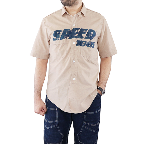 FREEWHEELERS フリーホイーラーズ SPEED TOGS SHORT SLEEVE SHIRT CUSTOM MODEL 1910 - 1920s STYLE WORK CLOTHING YARN DYED OXFORD GOLDEN STRAW