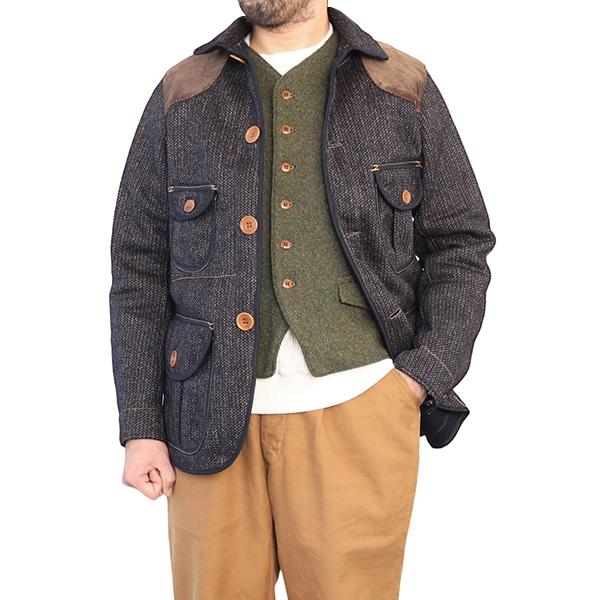 FREEWHEELERS フリーホイーラーズ COLUMBIA 1920s - 1930s WOODSMAN COAT GREAT LAKES GMT. MFG.CO. HIGH GAUGE MEDIUM WEIGHT BEACH CLOTH GRAINED CHARCOAL STRIPE × NAVY